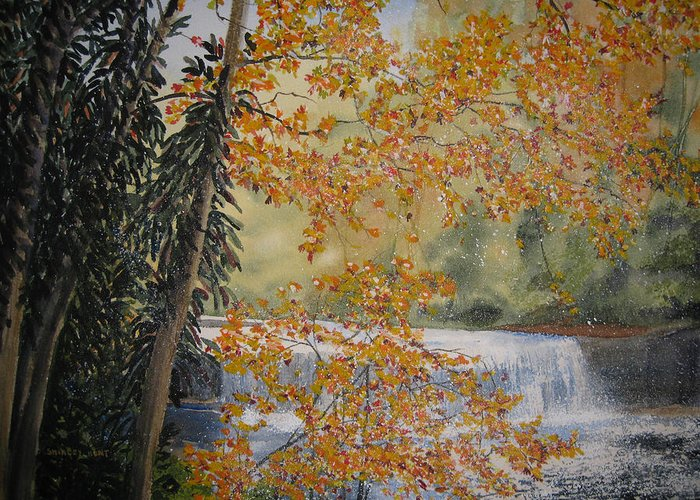 Landscape Greeting Card featuring the painting Hooker Falls by Shirley Braithwaite Hunt