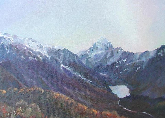 Landscape Greeting Card featuring the painting Hookers Valley New Zealand by Marcy Silverstein