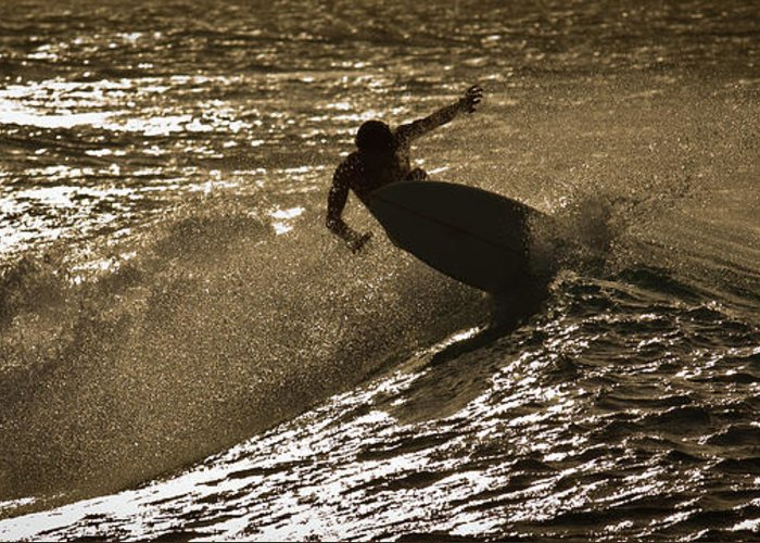 Oahu Greeting Card featuring the photograph Hookipa Maui Surfer At Sunset by Denis Dore
