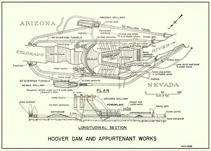Hoover Dam Plan And Section 1935 Greeting Card For Sale By Daniel