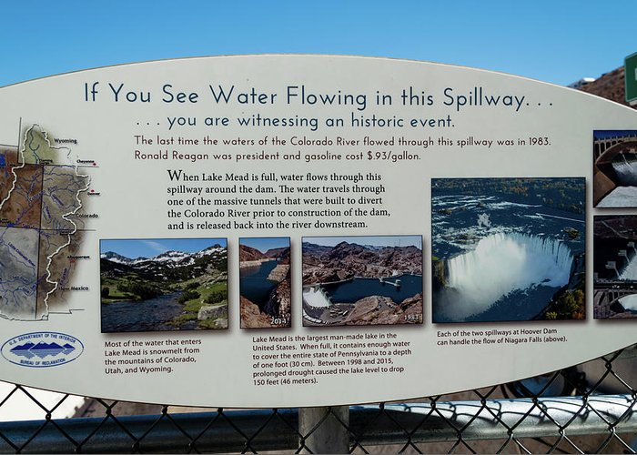Hoover Dam Spillway Last Used Greeting Card