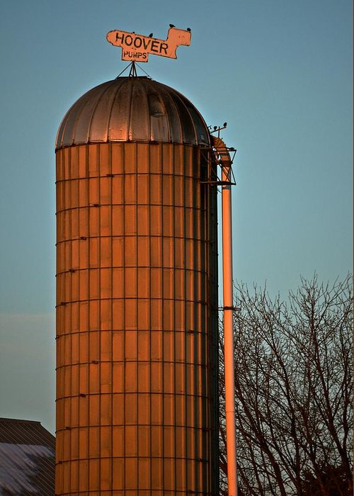 Signs Greeting Card featuring the photograph Hoover Pumps Atop Silo by Tana Reiff