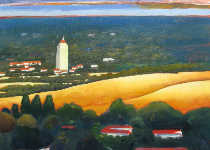 Stanford University Greeting Card featuring the painting Hoover Tower From Hills by Gary Coleman