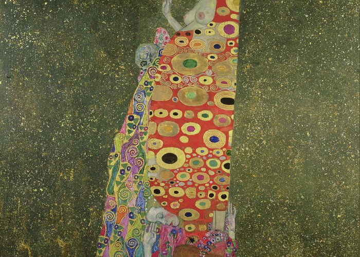 Die Hoffnung Ii (hope Ii) 1907-08 (oil And Gold Paint On Canvas) Greeting Card featuring the painting Hope II by Gustav Klimt