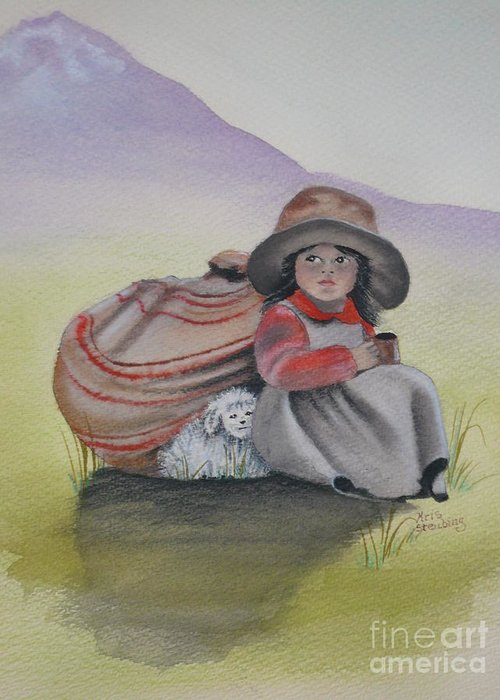 Children Greeting Card featuring the painting Hope by Kris Crollard
