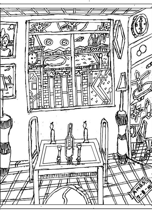 Indoor And Outdoor Drawing Greeting Card featuring the drawing Hope On The Table by Anthony Benjamin