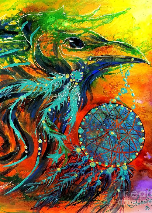 Mythical Greeting Card featuring the painting Hope Rising by Francine Dufour Jones