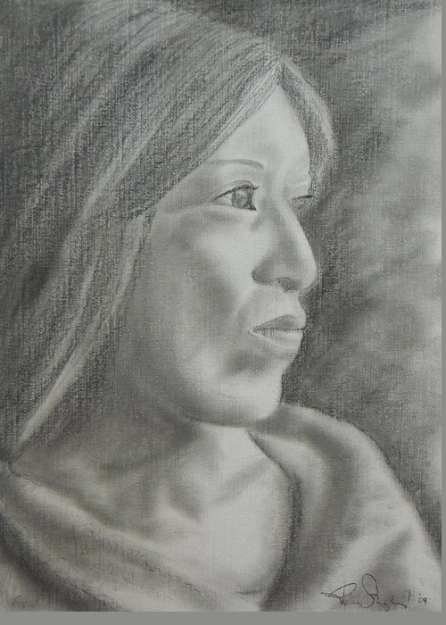 Woman Greeting Card featuring the drawing Hope by Roberta Shaughnessy