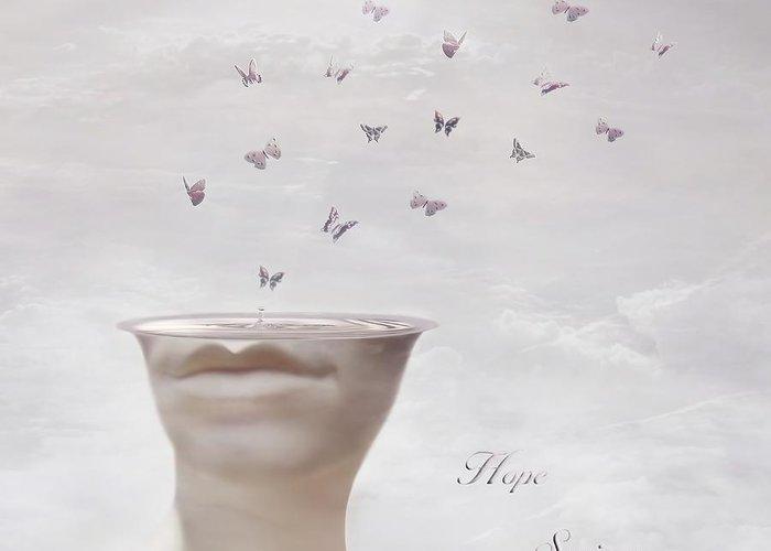 Surreal Greeting Card featuring the digital art Hope Springs Eternal by Jacky Gerritsen