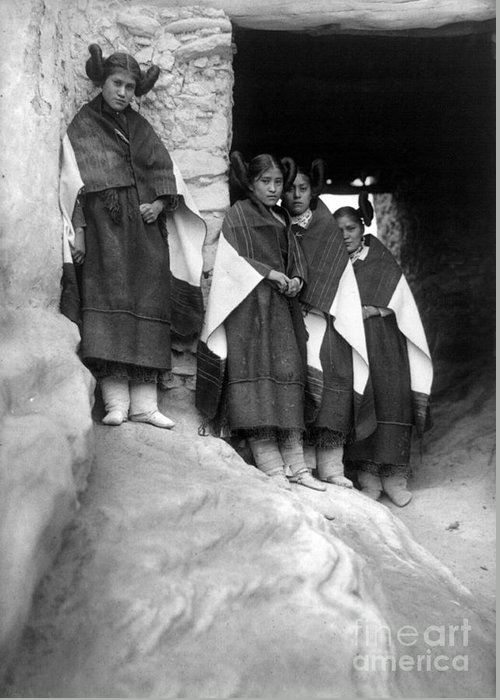 1906 Greeting Card featuring the photograph Hopi Maidens, 1906 by Granger