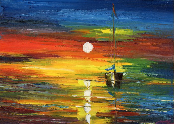 Oil Painting Art Artwork Acrylic Impressionist Impressionism Palette Knife Texture Giclee Print Reproduction Color Colour Colorful Bright Morning Evening Sail Sailing Two Boats Warm Passion Water Aqua Marina Nautical Love Relaxation Passion Racing Searching Nature Fish Fishing Surviving Violet Blue Yellow Green Pintura Impressionista Pescar Botes Agua Azula Amarilla Verde Passion Amor Navegacion Vela Buscando Paz Sobrevivir Color Colour Colourful Greeting Card featuring the painting Horizon Sail by Ash Hussein