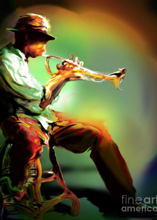 Jazz Art Greeting Card featuring the painting Horn Player II by Mike Massengale