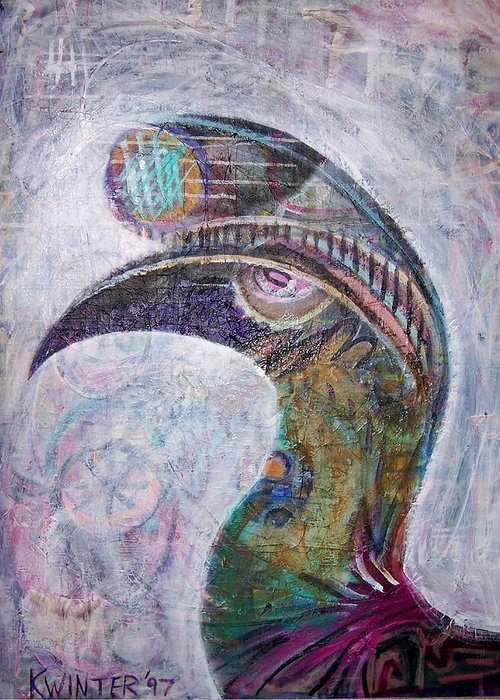 Bird Greeting Card featuring the mixed media Hornbill by Dave Kwinter