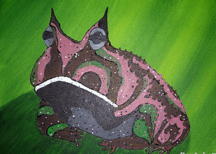 Amazon Horned Frog Greeting Card featuring the painting Horny by Sharon Supplee