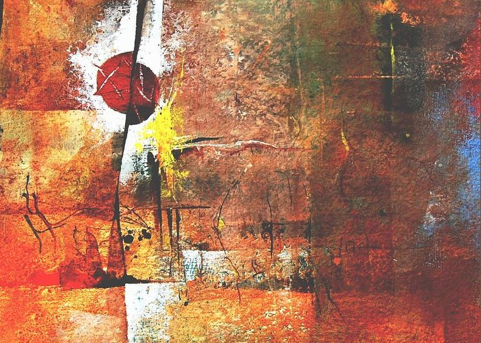 Abstract Greeting Card featuring the painting Horoscope Untold by Prakash Sree S N