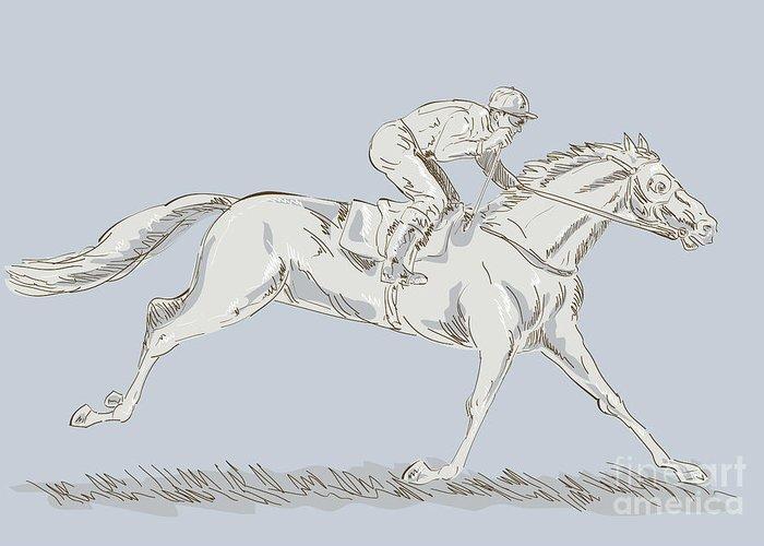 Horse Greeting Card featuring the digital art Horse And Jockey by Aloysius Patrimonio