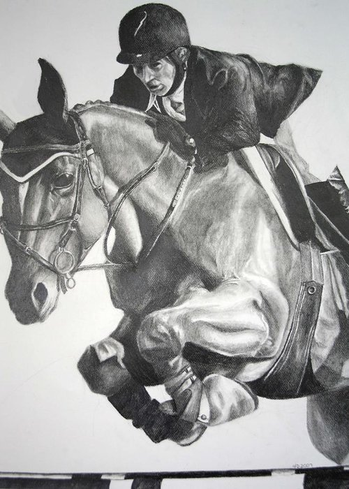 Horse Greeting Card featuring the drawing Horse And Jockey by Darcie Duranceau
