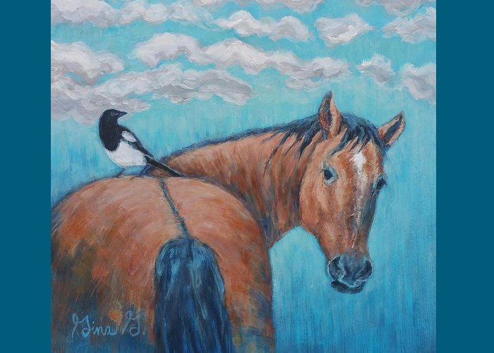 Horse Painting Greeting Card featuring the painting Horse And Magpie by Gina Grundemann