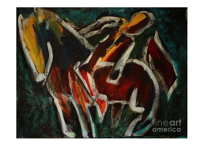 Intuitive Painting Greeting Card featuring the painting Horse And Man by Uwe Hoche