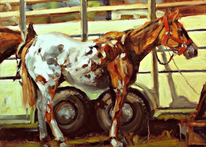 Horse Paintings Greeting Card featuring the painting Horse And Trailer by Brian Simons