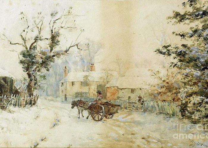 Henry Towneley Green - Horse-drawn Carriage In The Snow 1898 Greeting Card featuring the painting Horse Drawn Carriage In The Snow by MotionAge Designs