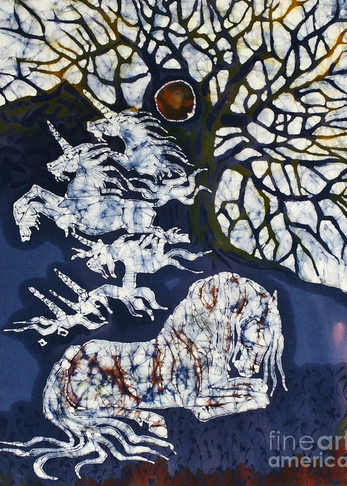 Horse Greeting Card featuring the tapestry - textile Horse Dreaming Below Trees by Carol Law Conklin