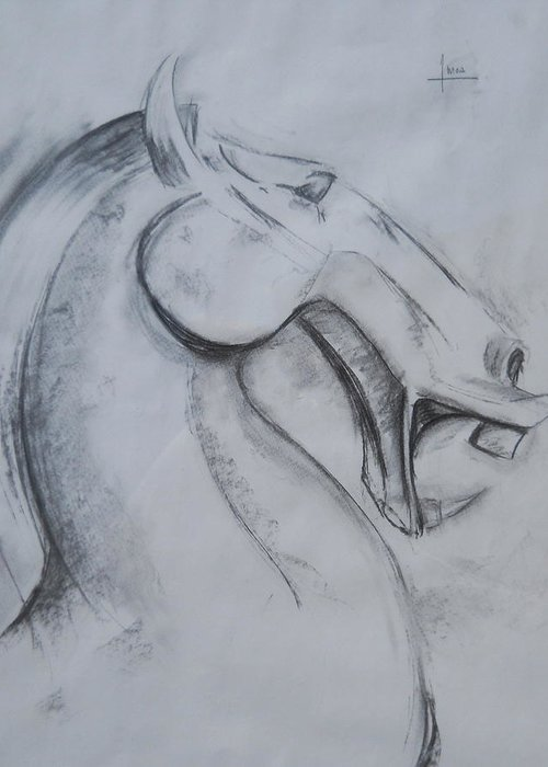 Horse Greeting Card featuring the drawing Horse Face by Victor Amor