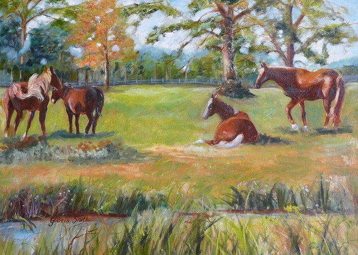 Horses.animal Greeting Card featuring the painting Horse Farm In Georgia by Gloria Smith
