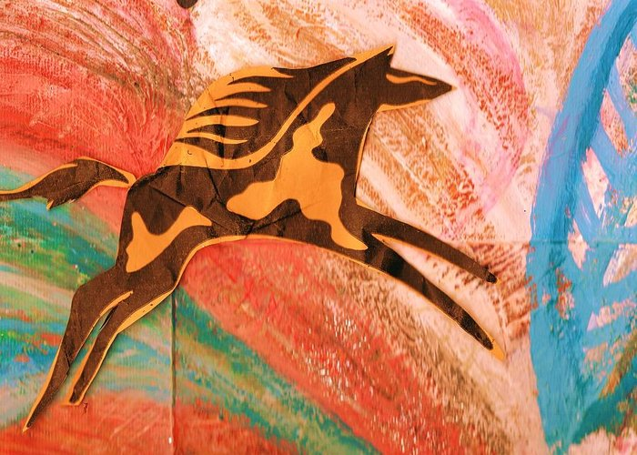 Horse Greeting Card featuring the mixed media Horse Jumping Over Colors by Anne-Elizabeth Whiteway