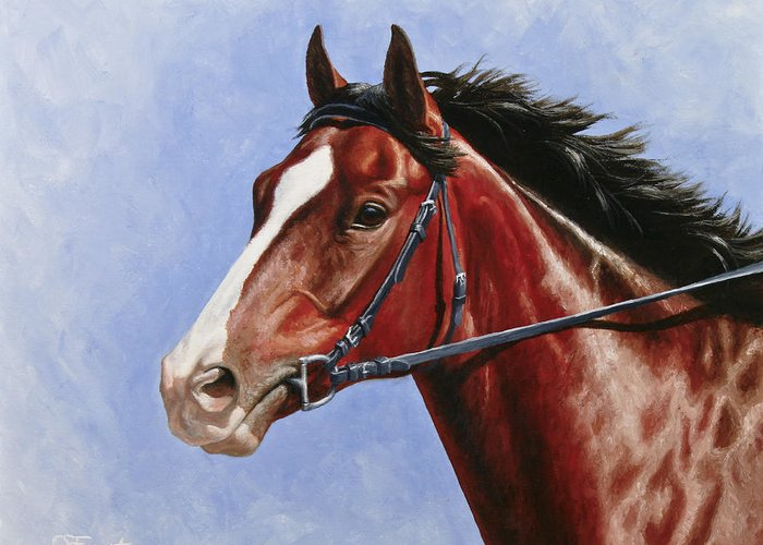 Horse Greeting Card featuring the painting Horse Painting - Determination by Crista Forest