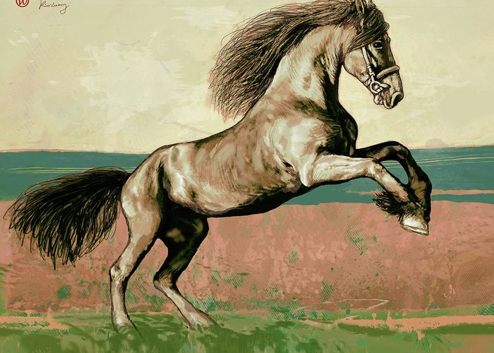 The Horse Mixed Media Greeting Cards