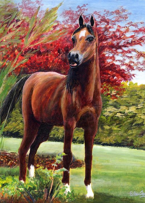 Horse Greeting Card featuring the painting Horse Portrait by Eileen Fong