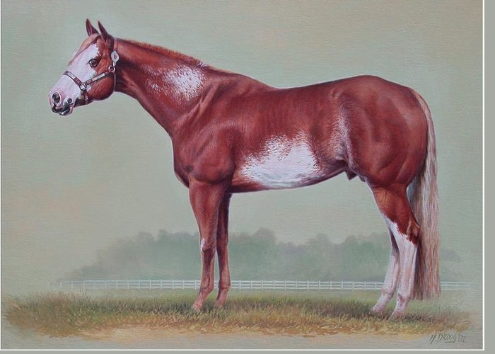 Horse Greeting Card featuring the painting Horse Portrait by Hans Droog