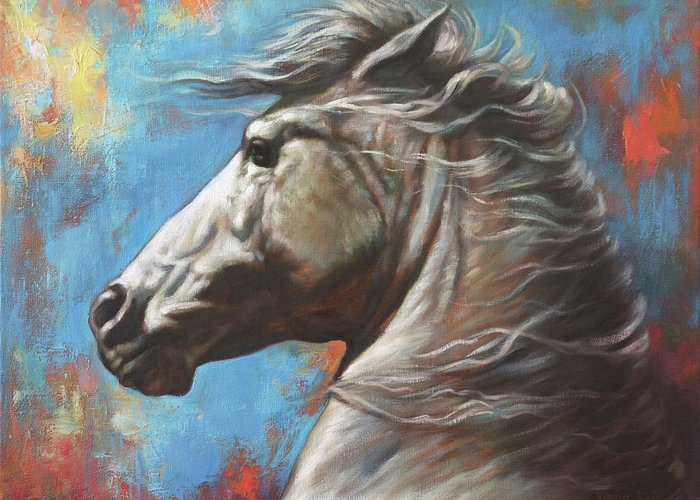White Horse Greeting Card featuring the painting Horse Power by Harvie Brown