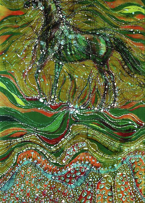 Horse Greeting Card featuring the tapestry - textile Horse Rises From The Earth by Carol Law Conklin
