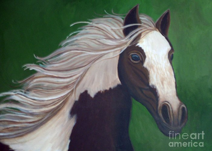 Horse Greeting Card featuring the painting Horse Run by Nick Gustafson
