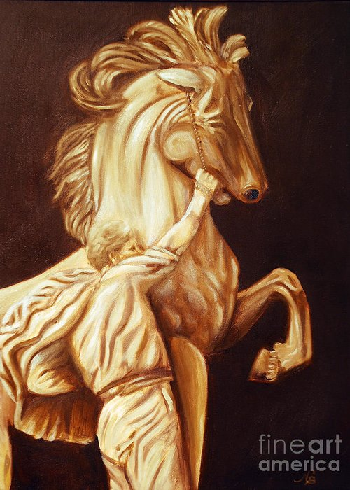 Horse Greeting Card featuring the painting Horse Statue by Nancy Bradley