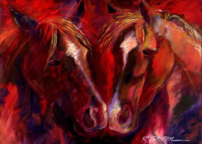 Nature Greeting Card featuring the painting Horse To Horse Nose To Nose by Ron Patterson