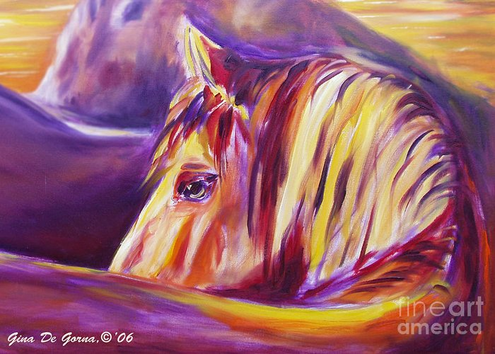 Horses Greeting Card featuring the painting Horse World Detail by Gina De Gorna