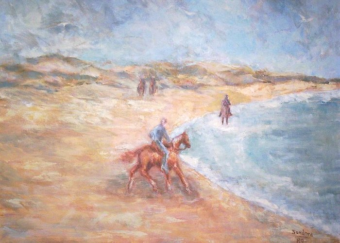 Landscape Horses Beach Ocean Animal Seascape Greeting Card featuring the painting Horseback On The Beach by Joseph Sandora Jr