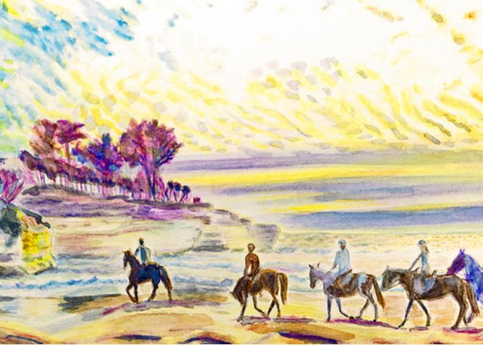 Seascape Greeting Card featuring the painting Horsemen by Aymeric NOA