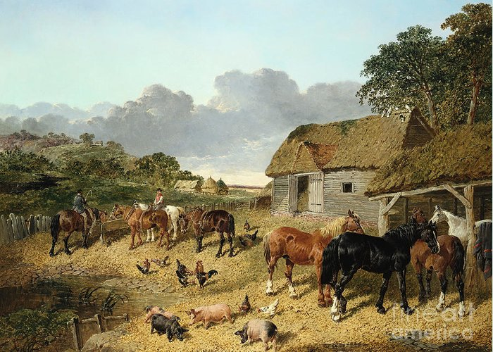 Horse Greeting Card featuring the painting Horses Drinking From A Water Trough, With Pigs And Chickens In A Farmyard by John Frederick Herring Jr