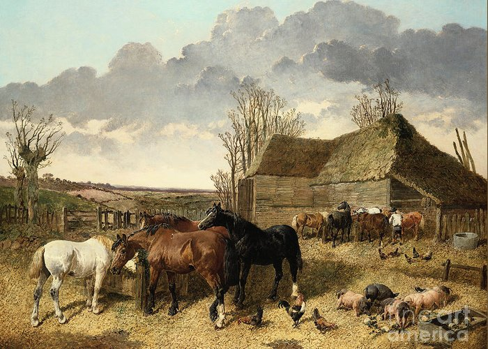 Horses Eating From A Manger Greeting Card featuring the painting Horses Eating From A Manger, With Pigs And Chickens In A Farmyard by John Frederick Herring Jr