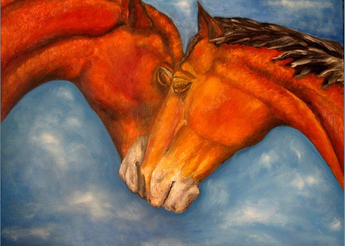Horses Greeting Card featuring the painting Horses In Love.oil Painting by Natalja Picugina