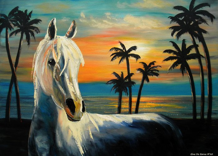 Horse Greeting Card featuring the painting Horses In Paradise Tell Me Your Dream by Gina De Gorna