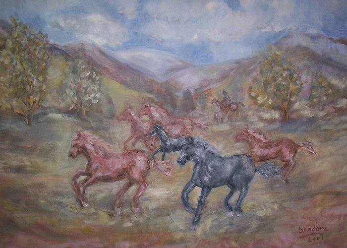 Landscape With Horses Greeting Card featuring the painting Horses by Joseph Sandora Jr