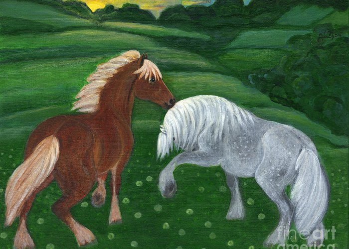 Folkartanna Greeting Card featuring the painting Horses Of The Rising Sun by Anna Folkartanna Maciejewska-Dyba