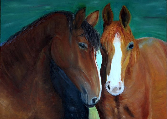 Horses Greeting Card featuring the painting Horses by Taly Bar