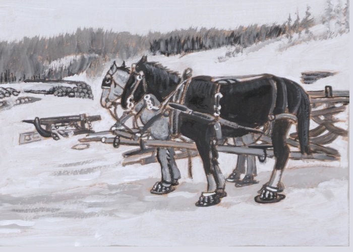 Historical Greeting Card featuring the painting Horses Wearing Snowshoes Historical Vignette by Dawn Senior-Trask