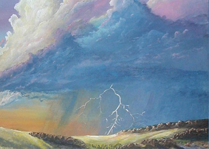 Monsoon Greeting Card featuring the painting Horsewater by John Wise